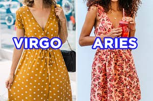 """On the left, someone walking down the street wearing a v-neck patterned dress with a tied waist labeled """"Virgo,"""" and on the right, someone wearing a floral print dress and holding a smoothie labeled """"Aries"""""""