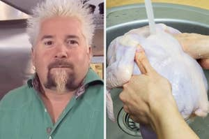 Side-by-side images of Guy Fieri and someone washing a chicken
