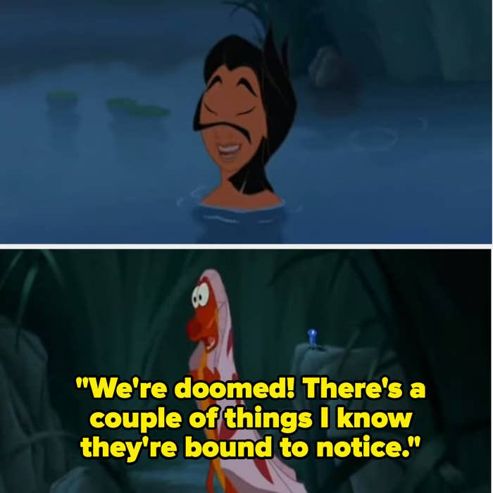 """Mushu saying """"We're doomed! There's a couple of things I know they're bound to notice."""""""