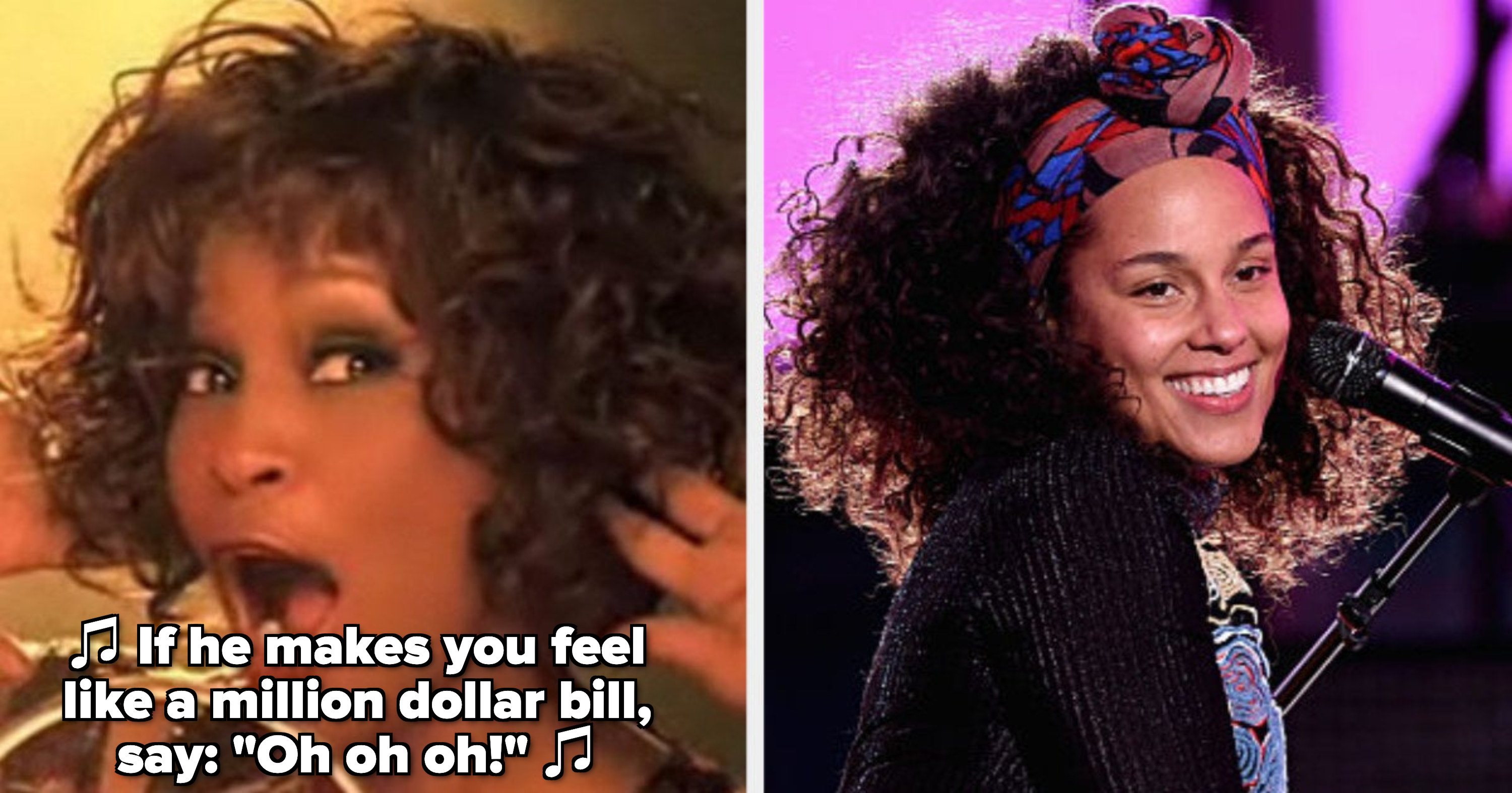 """Whitney Houston in the """"Million Dollar Bill"""" music video; Alicia Keys performing at the piano in the late 2010s"""