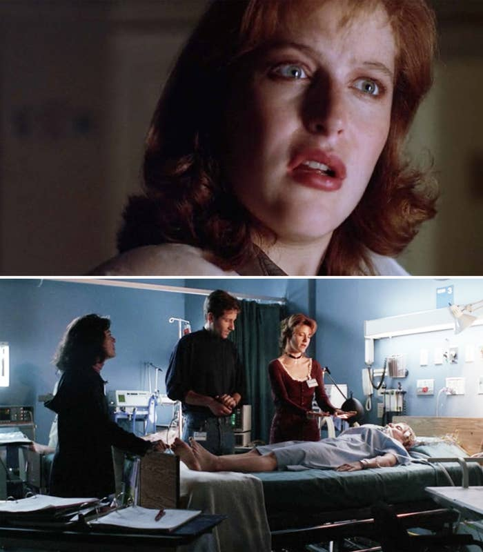 Scully looking concerned, and then Mulder looking at Scully as she lies in a hospital bed