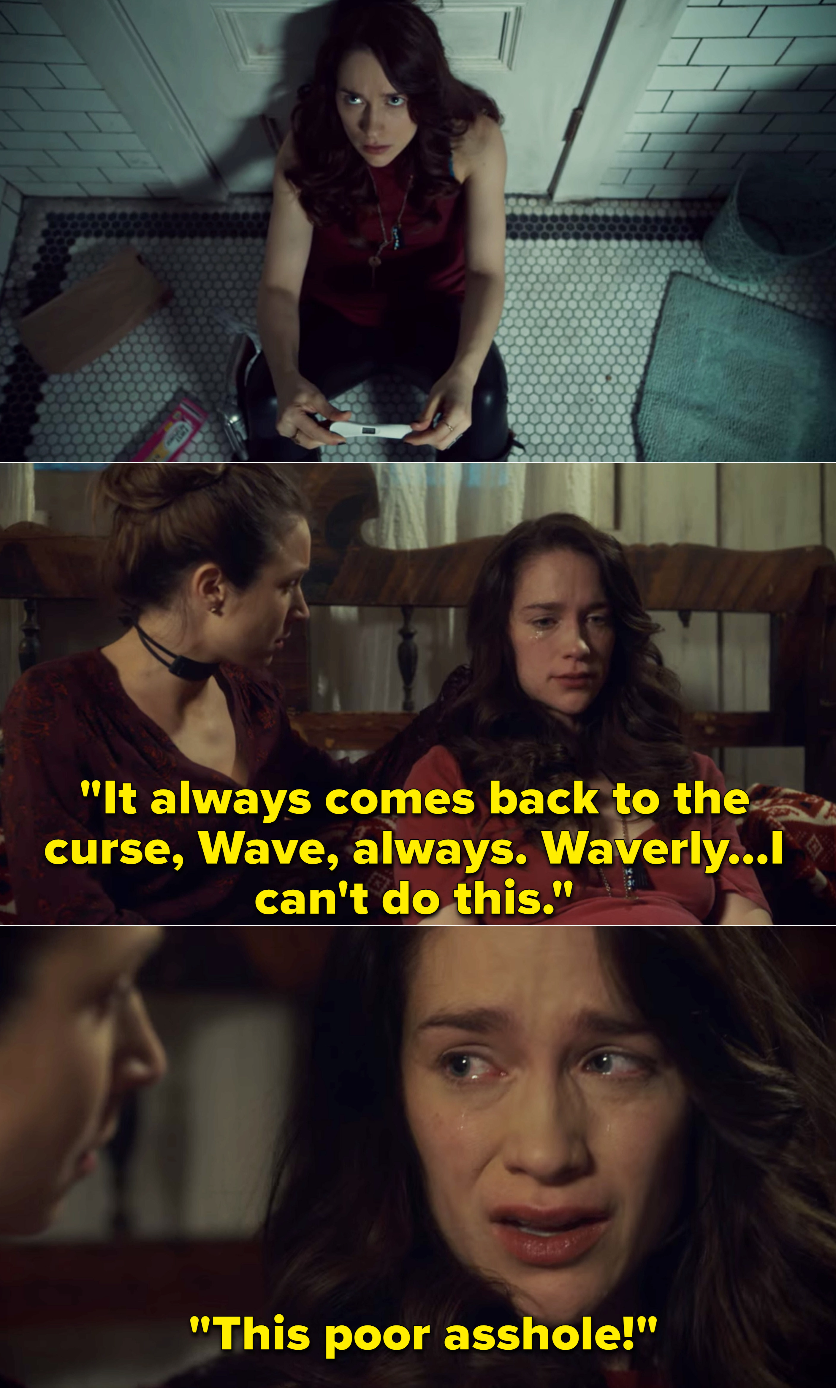 """Wynonna telling Waverly, """"It always comes back to the curse, Wave, always. Waverly...I can't do this. This poor asshole"""""""