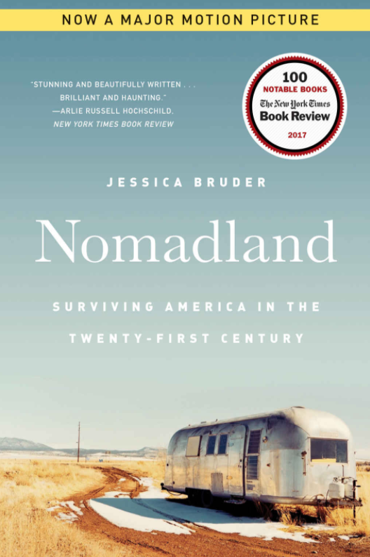 """Cover of the """"Nomadland"""" book which shows an old RV parked in the middle of nowhere"""