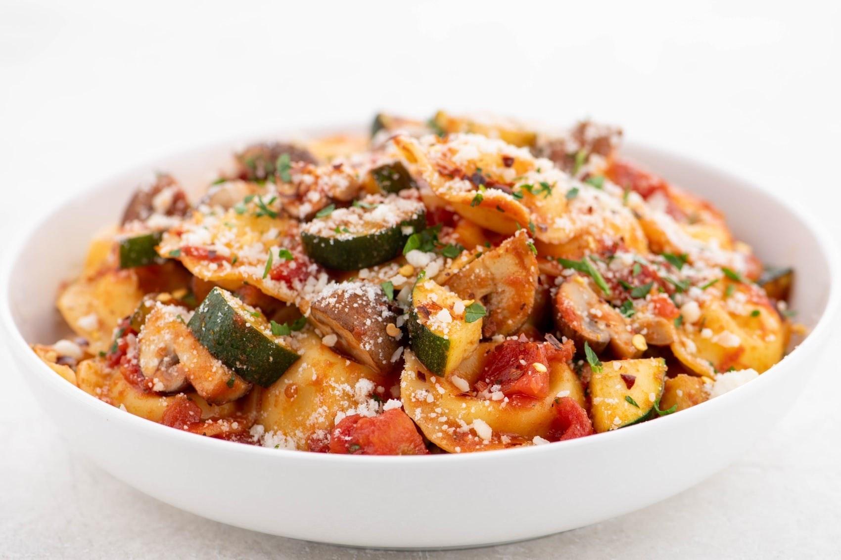 The cheese ravioli and mushroom marinara dish