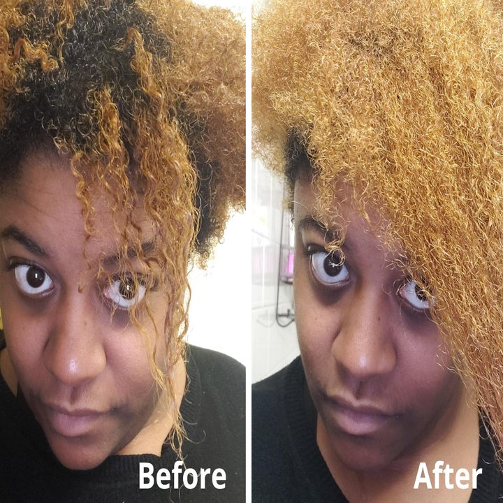 A split image of the reviewer with curly hair before the mask, and their hair after the mask looking fuller and more moisturized