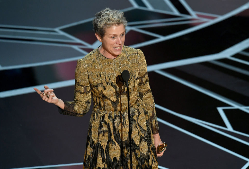 Frances McDormand giving her acceptance speech at the 90th Academy Awards