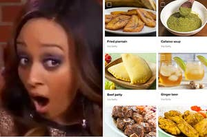 A shocked Tia Mowry next to a long list of Caribbean foods in the quiz