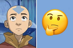 """On the left, Aang from """"Avatar,"""" and on the right, a thinking emoji"""