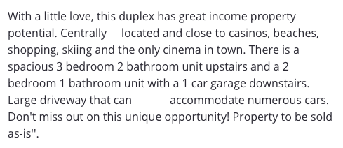 """""""There is a spacious 3 bedroom 2 bathroom unit upstairs..."""""""