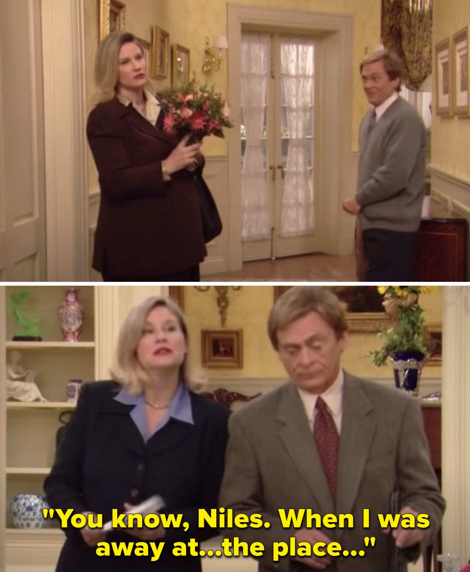 """C.C. holding flowers in front of her stomach, and C.C. saying, """"You know, Niles. When I was away at...the place..."""""""