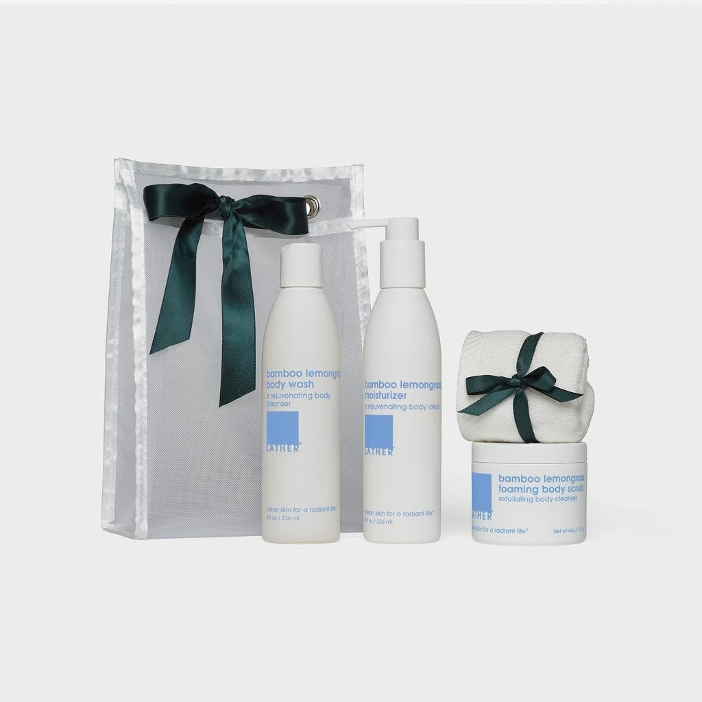 the set of products with a washcloth, bamboo lemongrass body wash and moisturizer, and foaming body scrub