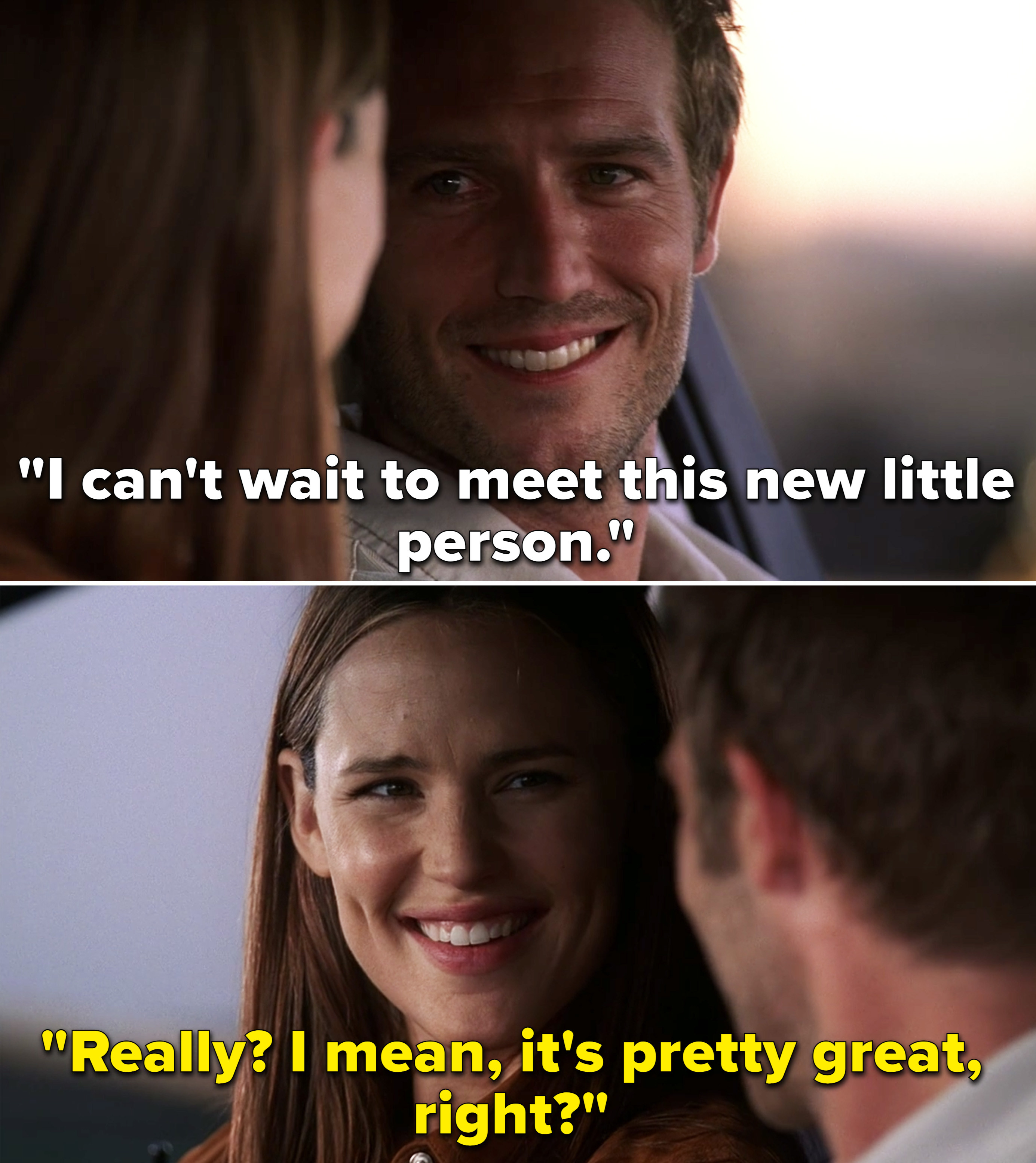 """Vaughn saying, """"I can't wait to meet this new little person,"""" and Sydney saying, """"Really? I mean, it's pretty great, right?"""""""