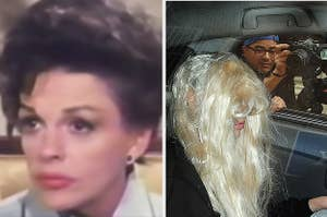 Judy Garland being interviewed by Barbara Walters in the late 1960s; Amanda Bynes in a car being swarmed by paparazzi