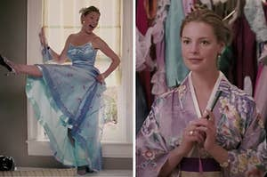 side by side images of Katherine Heigl in 27 dresses