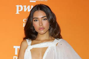 Madison Beer posing at a press event