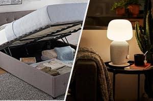 (left) Lifting bed frame (right) Light speaker combo