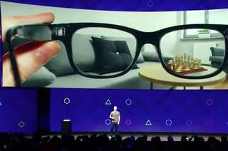 Facebook CEO Mark Zuckerberg discusses smart glasses at the company's FB conference in 2017