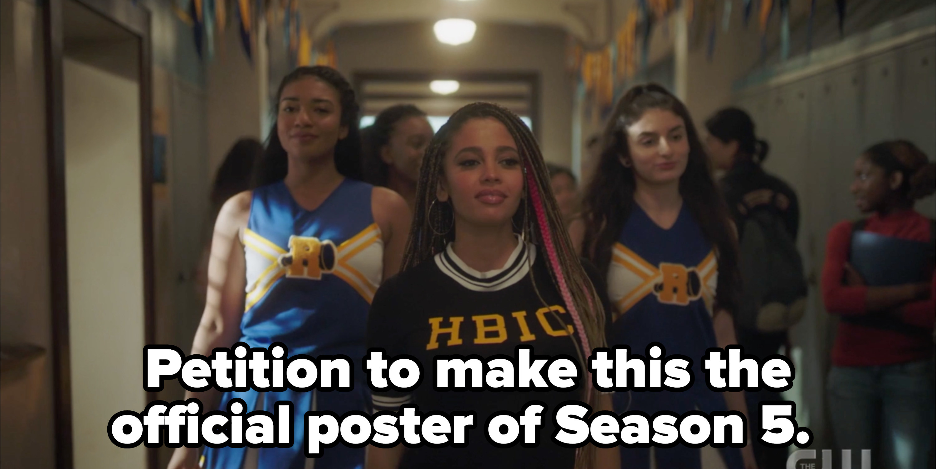 """Toni walking and wearing HBIC shirt and the river vixens behind her with the caption """"petition to make this the official poster of Season 5"""""""