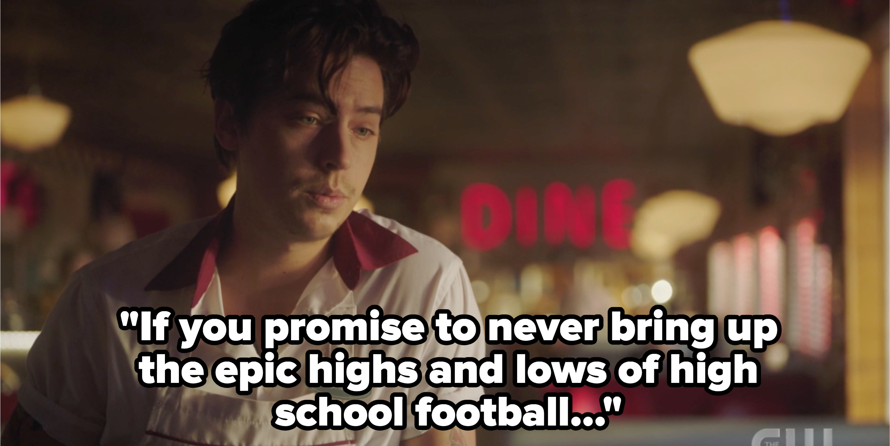 """jughead saying """"if you promise to never mention the epic highs and lows of high school football..."""