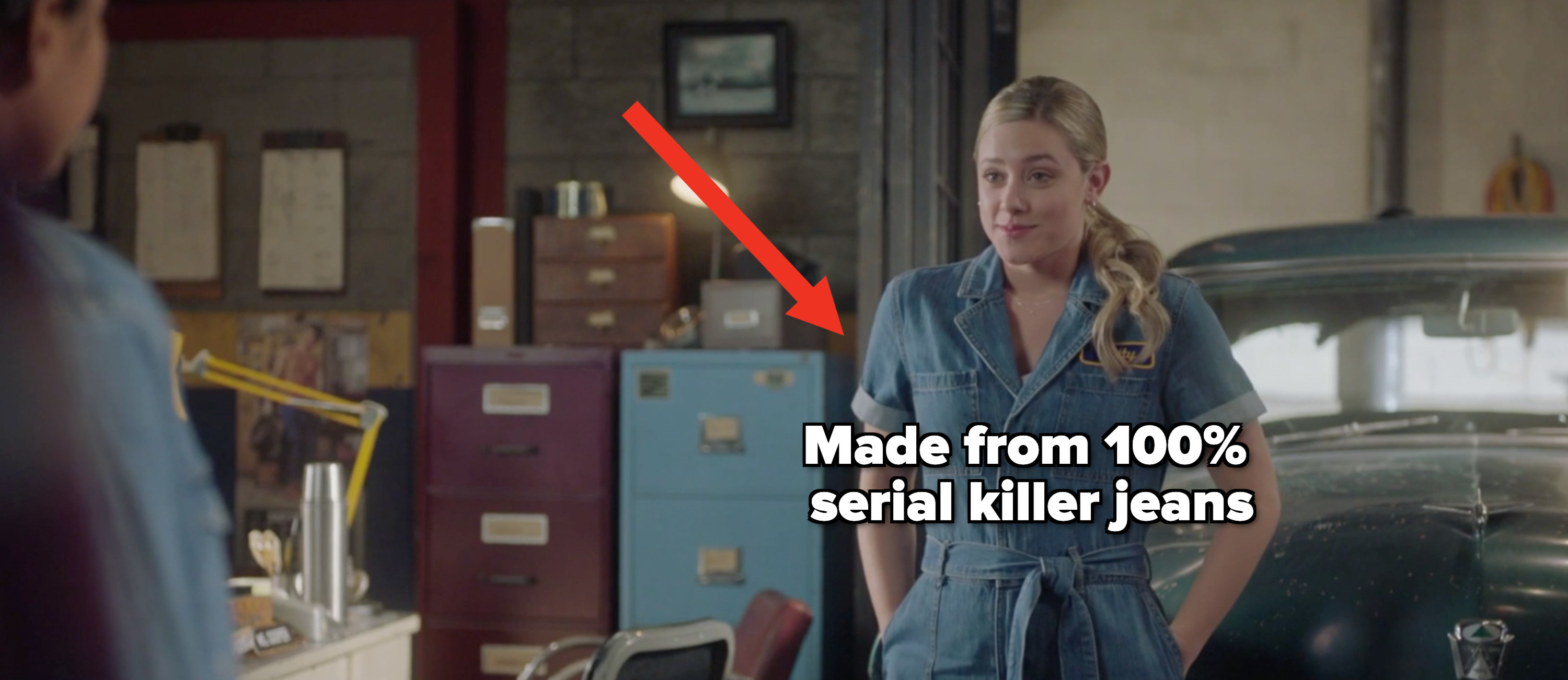 """Betty in a denim outfit with the caption """"made from 100% serial killer jeans"""""""