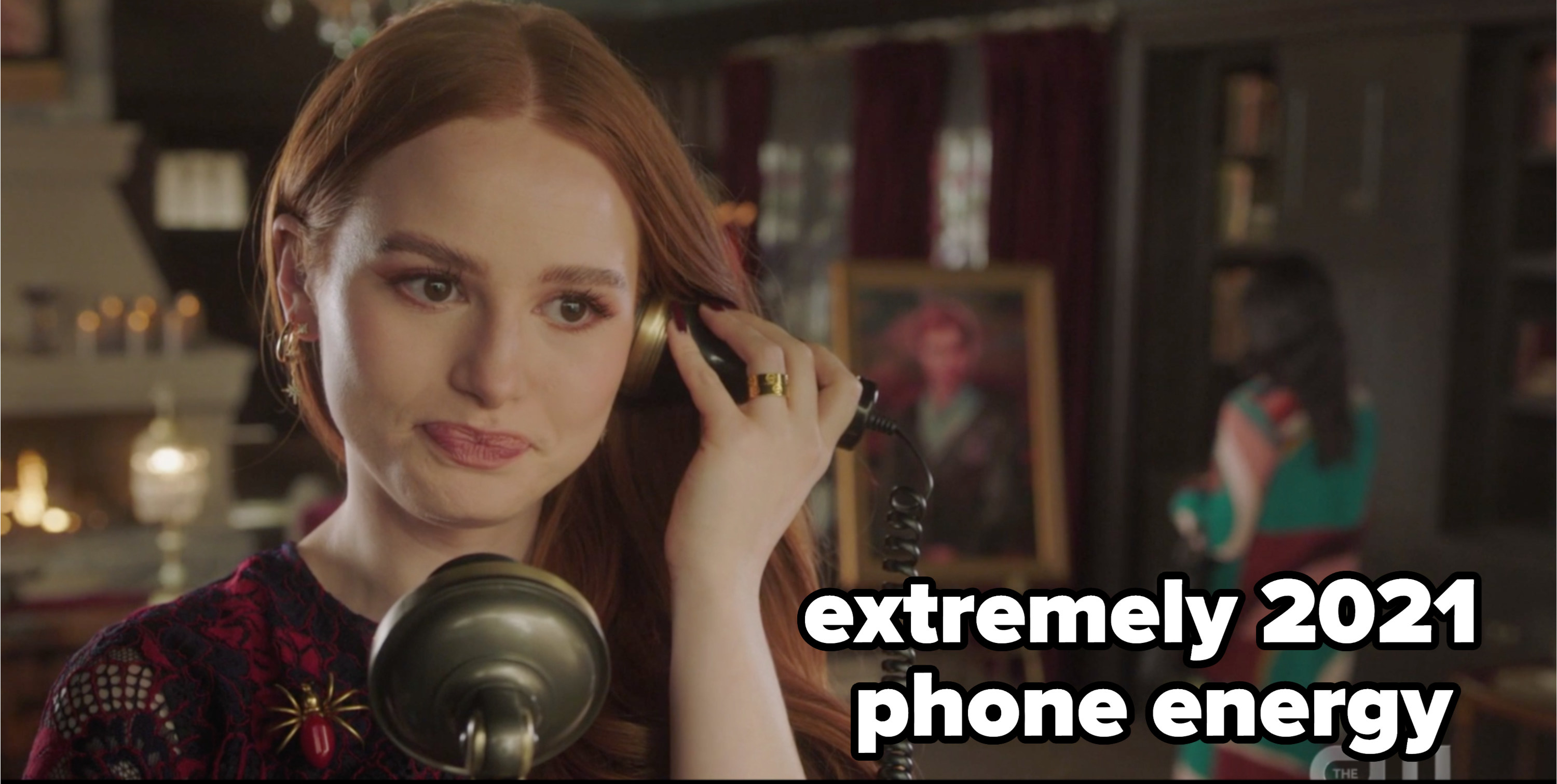 """Cheryl with a rotary phone with the caption """"extremely 2021 phone energy"""""""