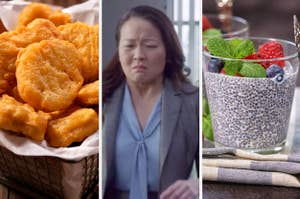 Side-by-side images of chicken nuggets, someone making a yuck face, and chia pudding