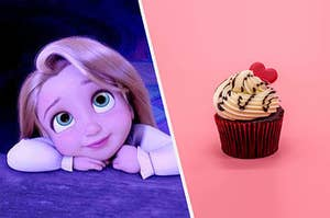 A sweet-looking Rapunzel from tangled next to a delicious red velvet cupcake