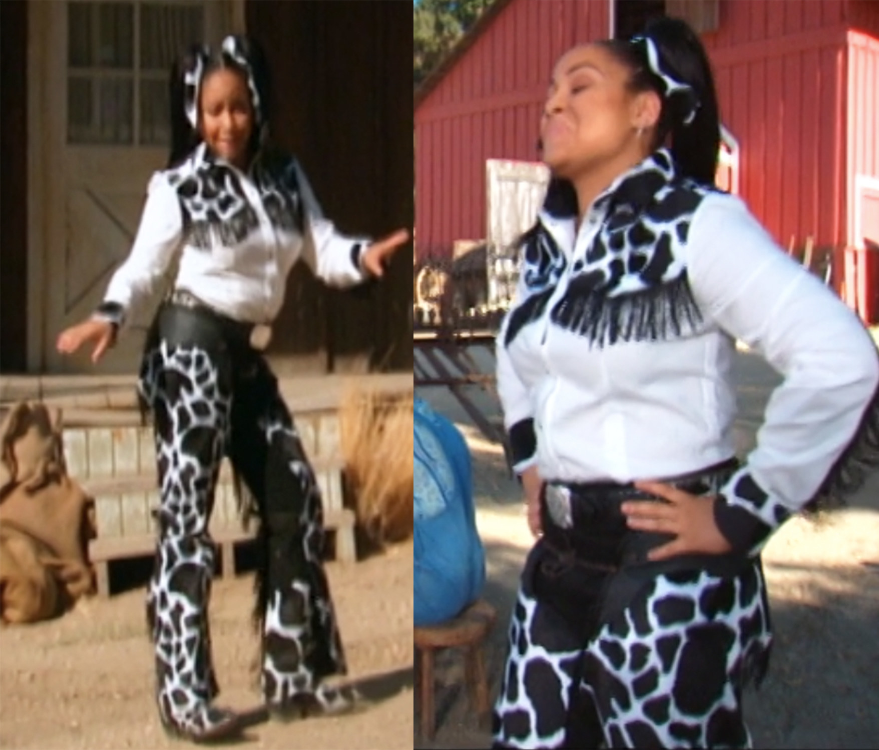 Raven has a fully cow-print cowgirl outfit