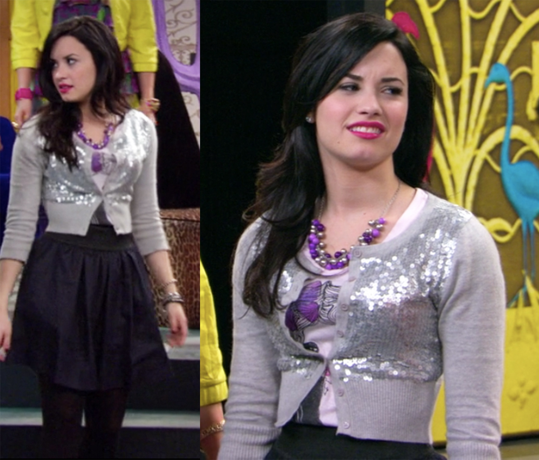Sonny has a sequined crop sweater and an puffy skirt