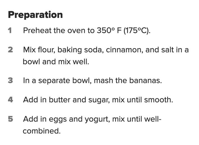 A recipe that calls for dry ingredients to be mixed before wet ingredients