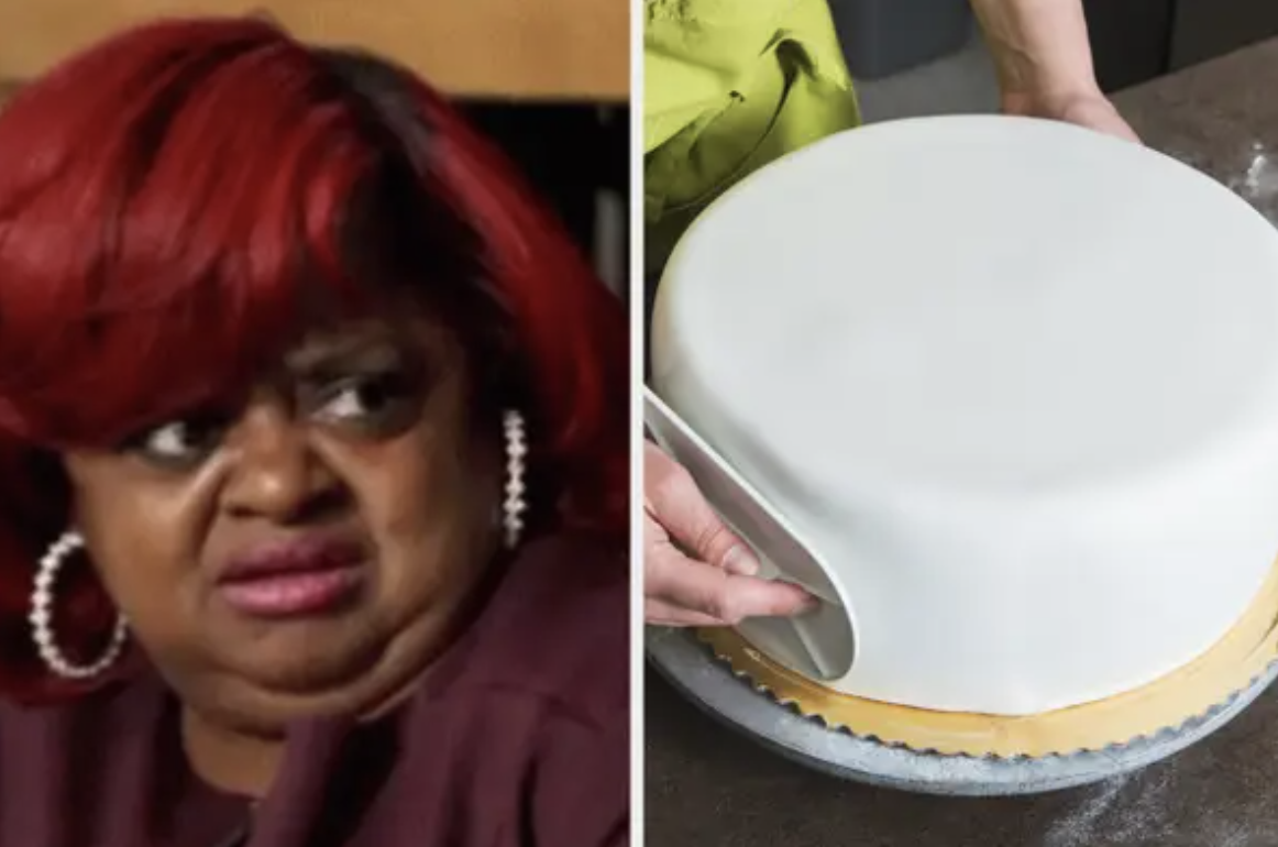 Ms. Juicy looking at a fondant cake with disgust