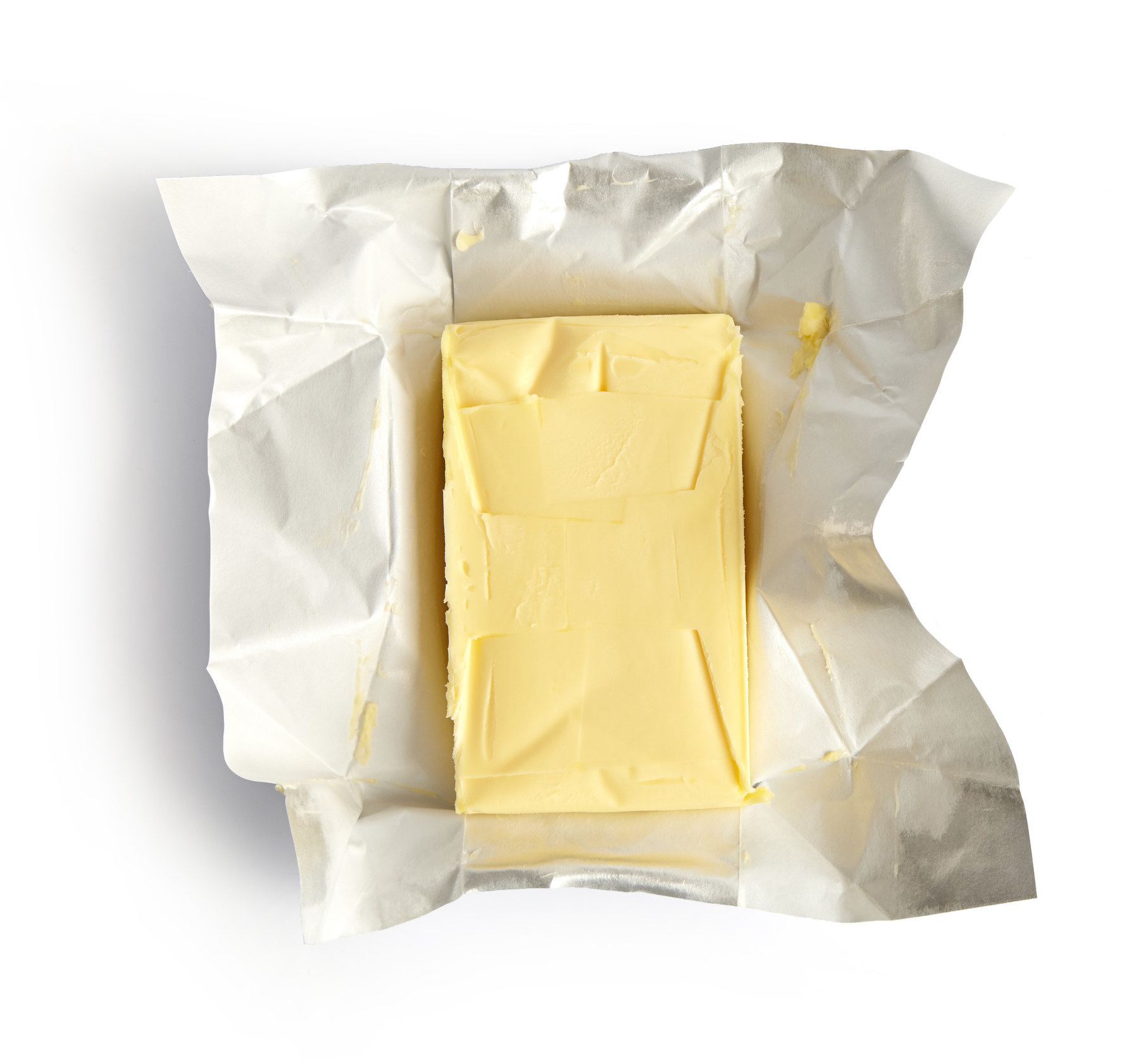 A block of butter on its wrapper
