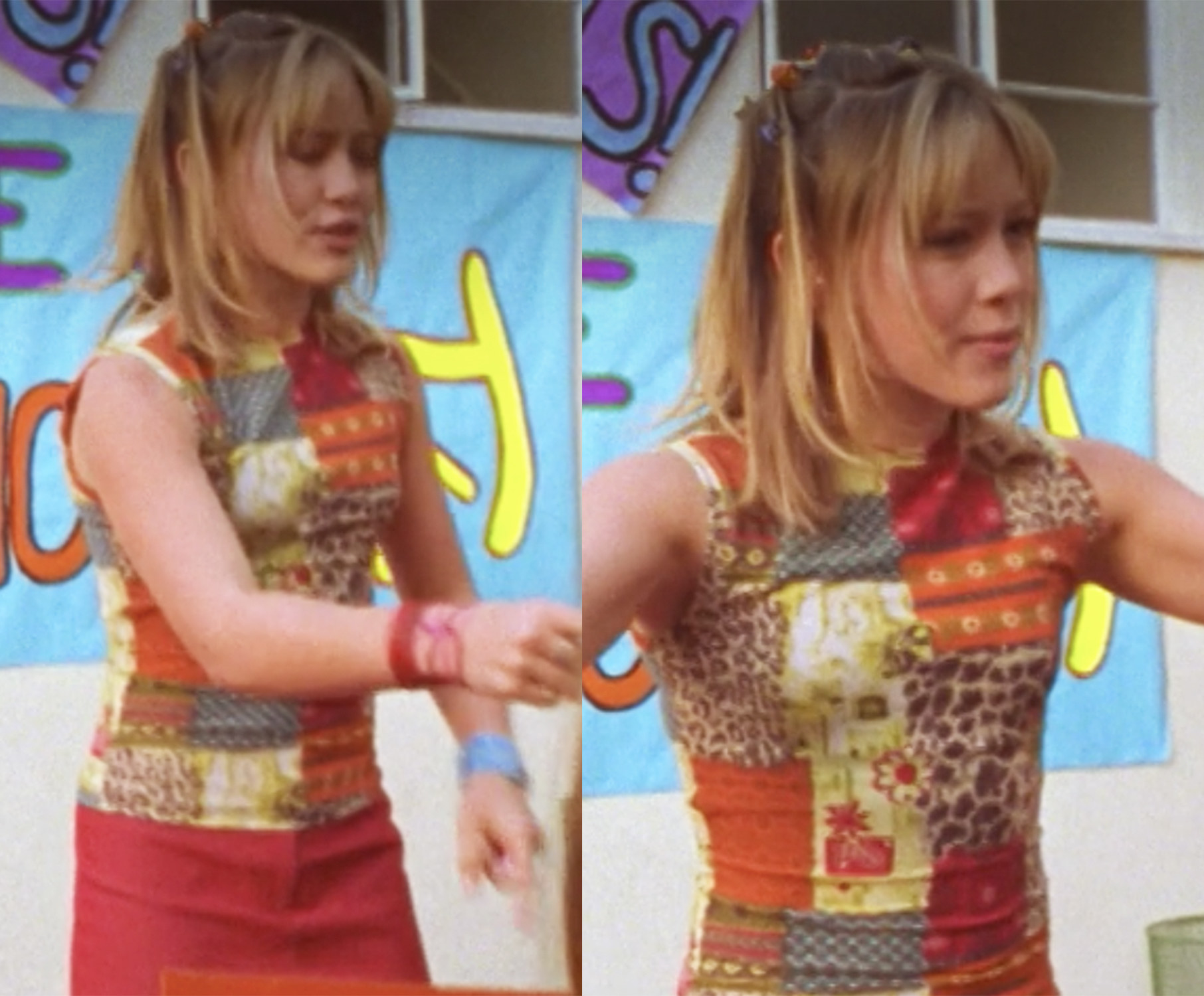 Lizzie's top is a bunch of mismatches squares