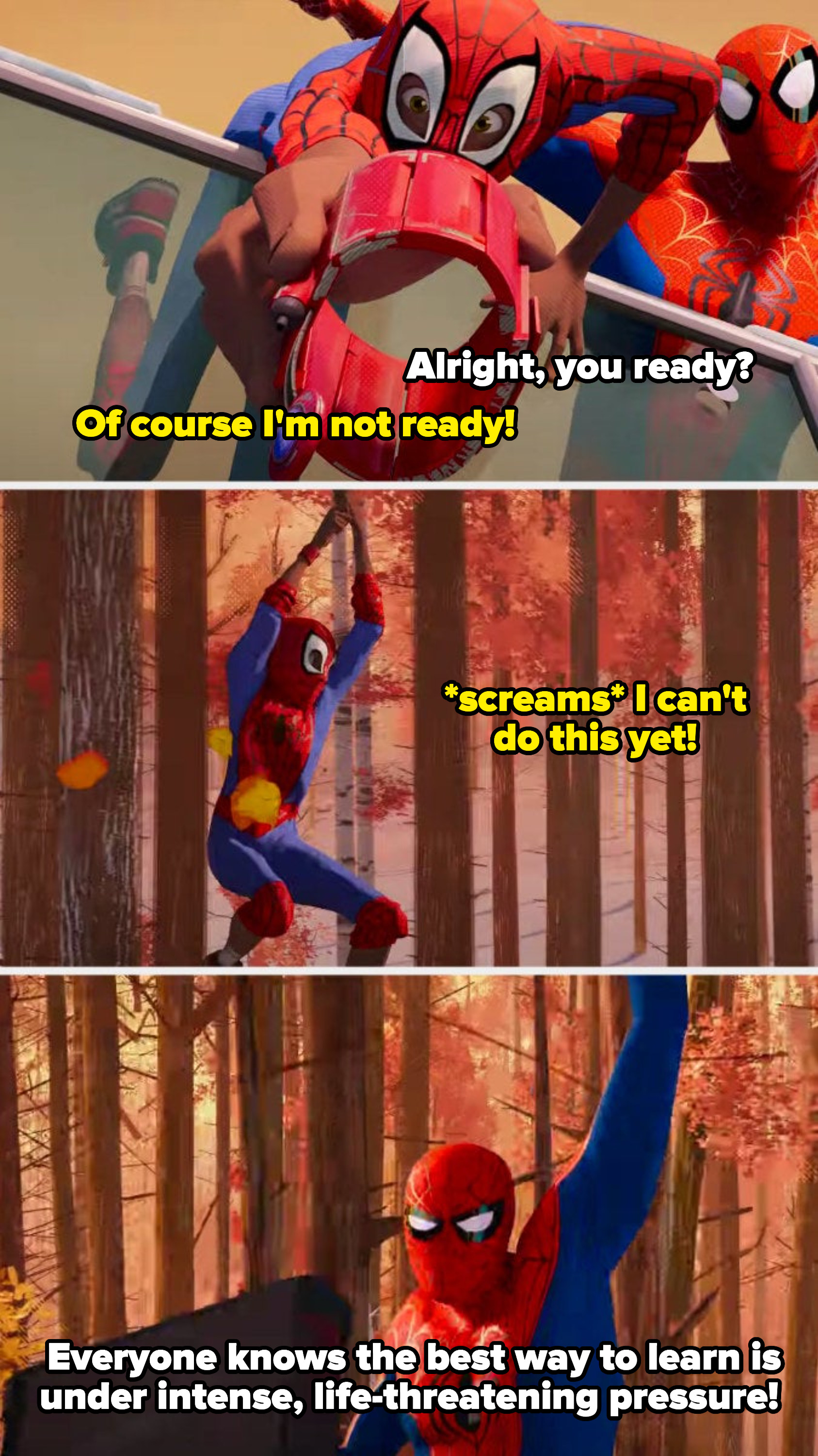 Miles trying to web swing for the first time saying he can't do that yet and Peter saying the best time to learn is under intense, life-threatening pressure