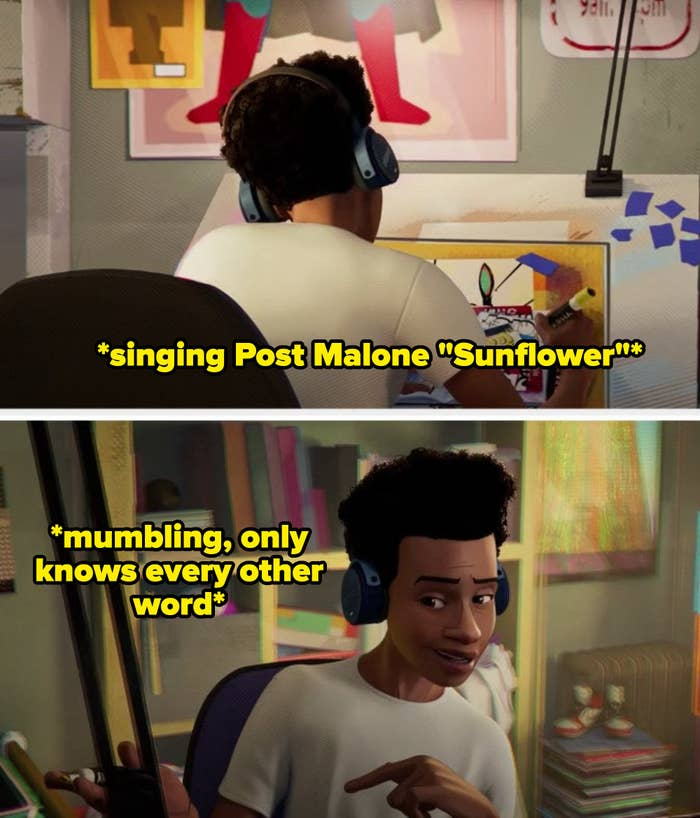 """Miles singing along to Post Malone's """"Sunflower"""" but mumbling and saying every other word"""