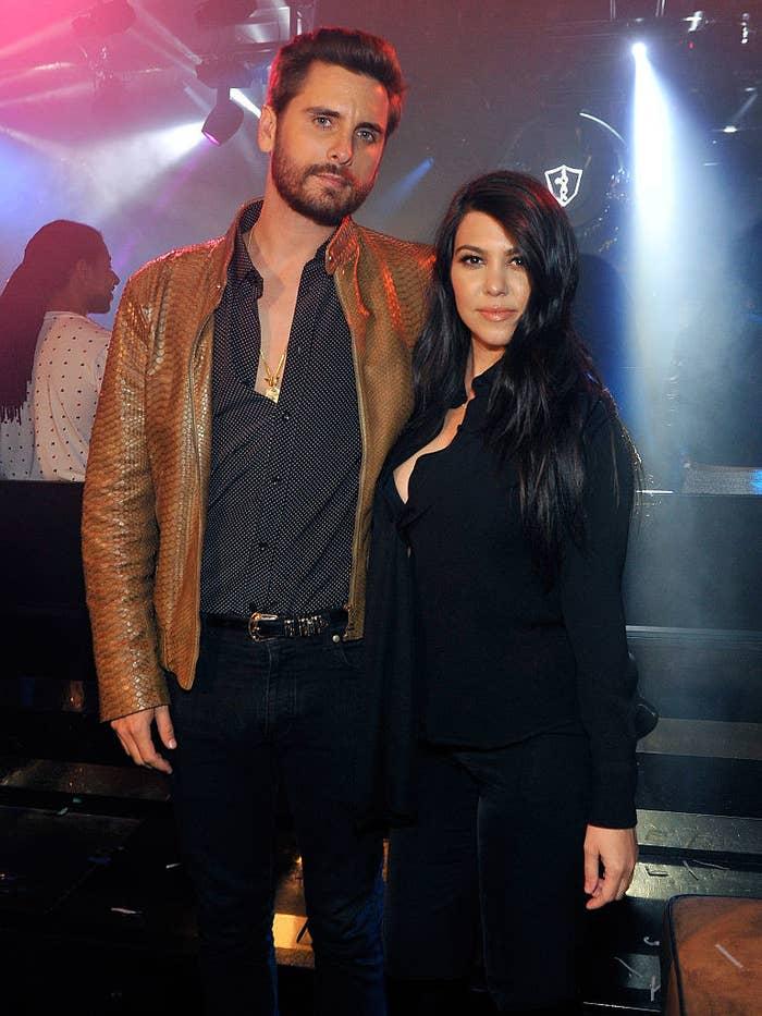 Scott Disick and Kourtney Kardashian at the 1 OAK Nightclub at The Mirage Hotel & Casino