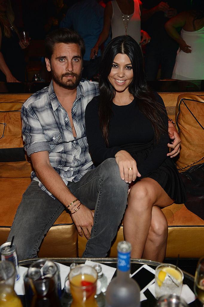 Scott Disick (L) and Kourtney Kardashian celebrate Kourtney Kardashian's birthday in 2015