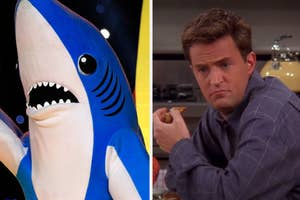 Side-by-side images of one of the dancing sharks from the Super Bowl and Chandler Bing