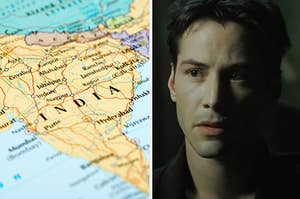 "Side-by-side images of a map of India and Keanu Reeves in ""The Matrix"""