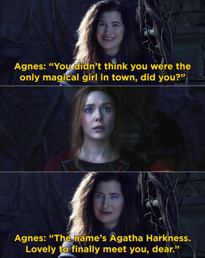 """Agnes telling Wanda, """"You didn't think you were the only magical girl in town, did you? The name's Agatha Harkness. Lovely to finally meet you, dear"""""""