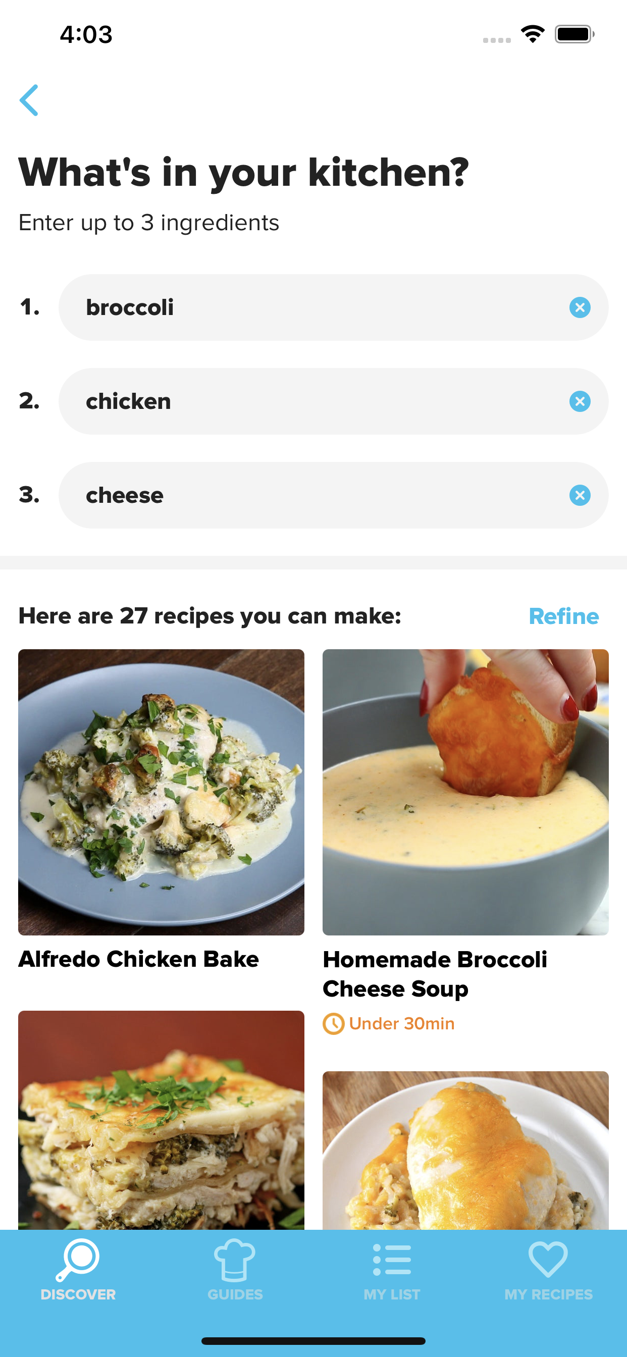 Screenshot of the Tasty app showing recipes that you can make with broccoli, chicken, and cheese