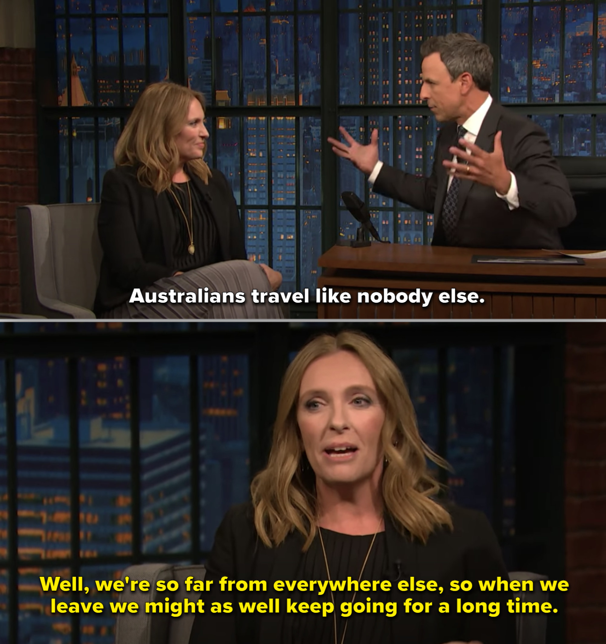 Toni Collette during an interview