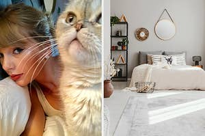 On the left, Taylor Swift taking a selfie with her cat, Meredith, and on the right, a symbol bedroom with mirrors on the walls and knickknacks on the shelves near the bed