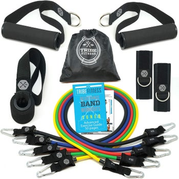 the various accessories around the colorful resistance bands