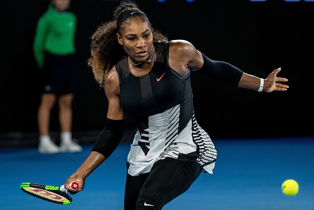 Serena Williams returns the ball during the Womens Singles Final of the 2017 Australian Open