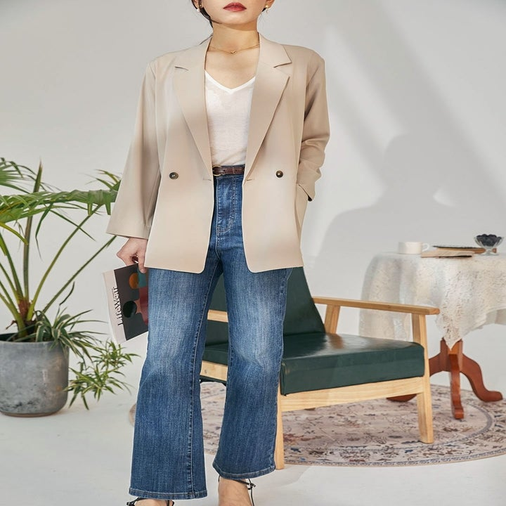model wearing casual chiffon blazer in milk tea