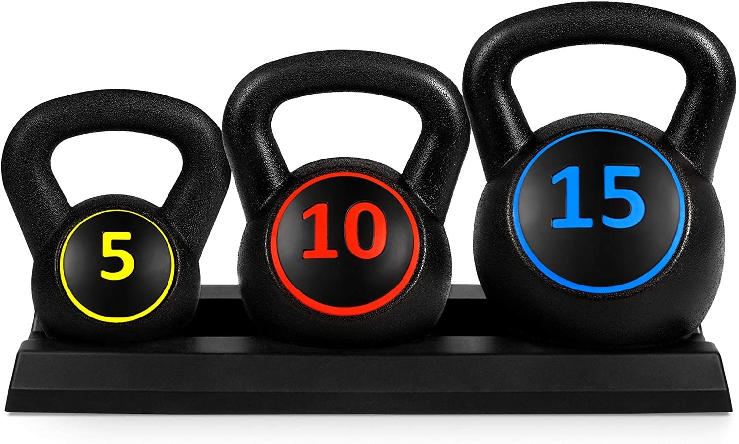 three kettle bells with different colors to indicate different weights on each
