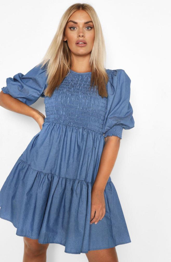 model wearing chambray shirred dress
