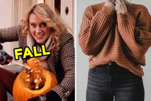On the left, Kate McKinnon carving a pumpkin in an