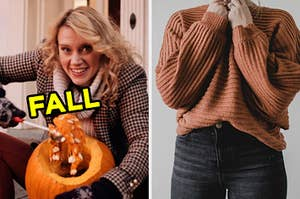 """On the left, Kate McKinnon carving a pumpkin in an """"SNL"""" sketch labeled """"fall,"""" and on the right, someone wearing jeans and a sweater"""